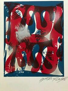 "Modern ABSTRACT Serigraph Print Atsuko Okamoto Contemporary Pop Art  21"" x 31"""