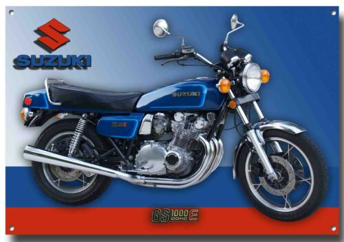 SIZE.VINTAGE JAPANESE MOTORCYCLE. A3 SUZUKI GS1000E DOHC MOTORCYCLE METAL SIGN.