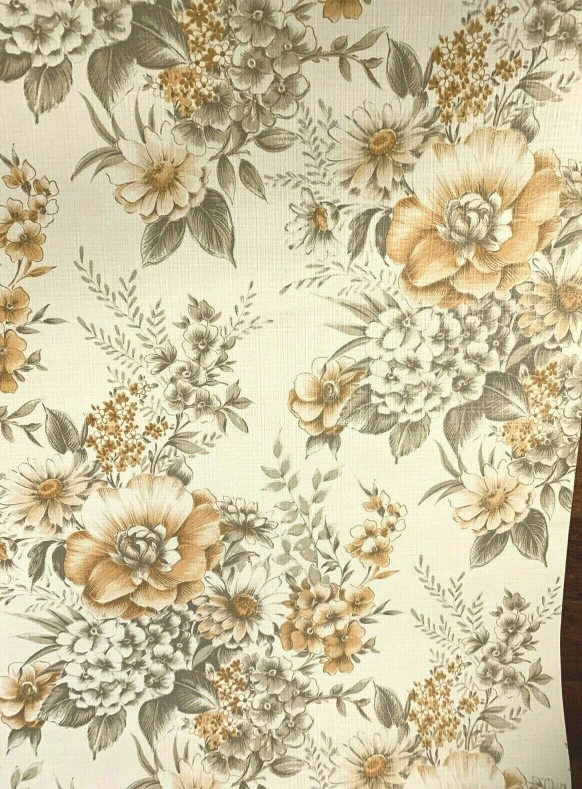 Norwall Wallpaper Black W White Vintage Floral 2 Double Rolls