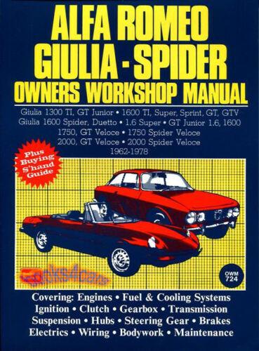 ALFA ROMEO SHOP MANUAL SERVICE REPAIR BOOK OWNERS WORKSHOP SPIDER GIULIA 62-79