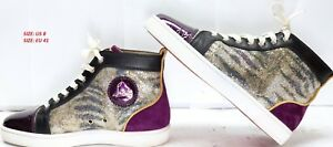 new arrival 7b1f3 5cec5 Details about CHRISTIAN LOUBOUTIN PURPLE & GOLD GLITTER HIGH TOP SNEAKERS -  US8 - IN BOX