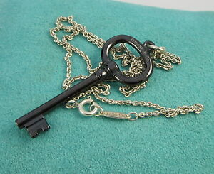 Tiffany Co Sterling Silver Oval Black Titanium Key Pendant Charm Necklace Ebay