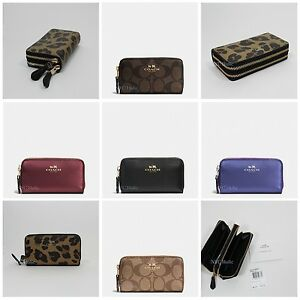 New-Coach-Small-Double-Zip-Coin-Case-F63975-With-Gift-Box