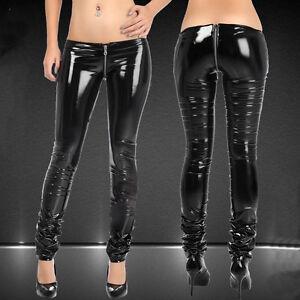 Women-Lady-Sexy-Low-Rise-Pants-Trousers-Unique-Zip-Crotch-Slim-Fit-Charm-Black