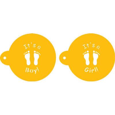 "Honey Designer Stencils Decorating Cupcake Stencil It's A Boy/girl Cookie Top 3.5"" Other Baking Accessories"