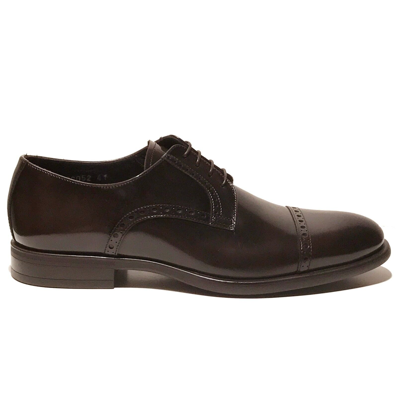New ARMANI Brown Leather Formal Dress Derby Derby Derby Captoe Oxford 7.5 Men's shoes Casual b0f555