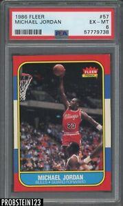 """1986 Fleer Basketball #57 Michael Jordan RC Rookie HOF PSA 6 """" LOOKS NICER """""""