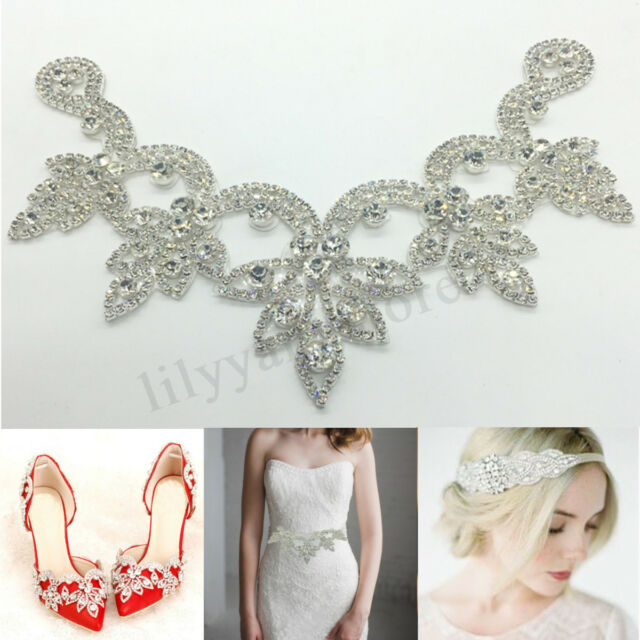 7d00e125a8 Crystal Rhinestone Applique Trim Iron on Wedding Bridal Belt Sash Dress  Shoes