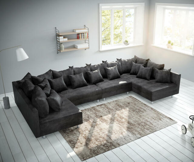 Couch Clovis Xl Anthrazit Antik Optik Wohnlandschaft Modulsofa Ebay