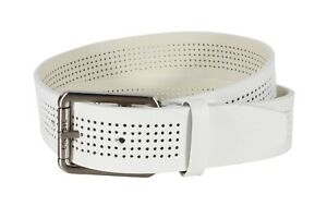 c7931ac35 Lacoste Men s Perforated White Leather Belt With Roller Buckle ...