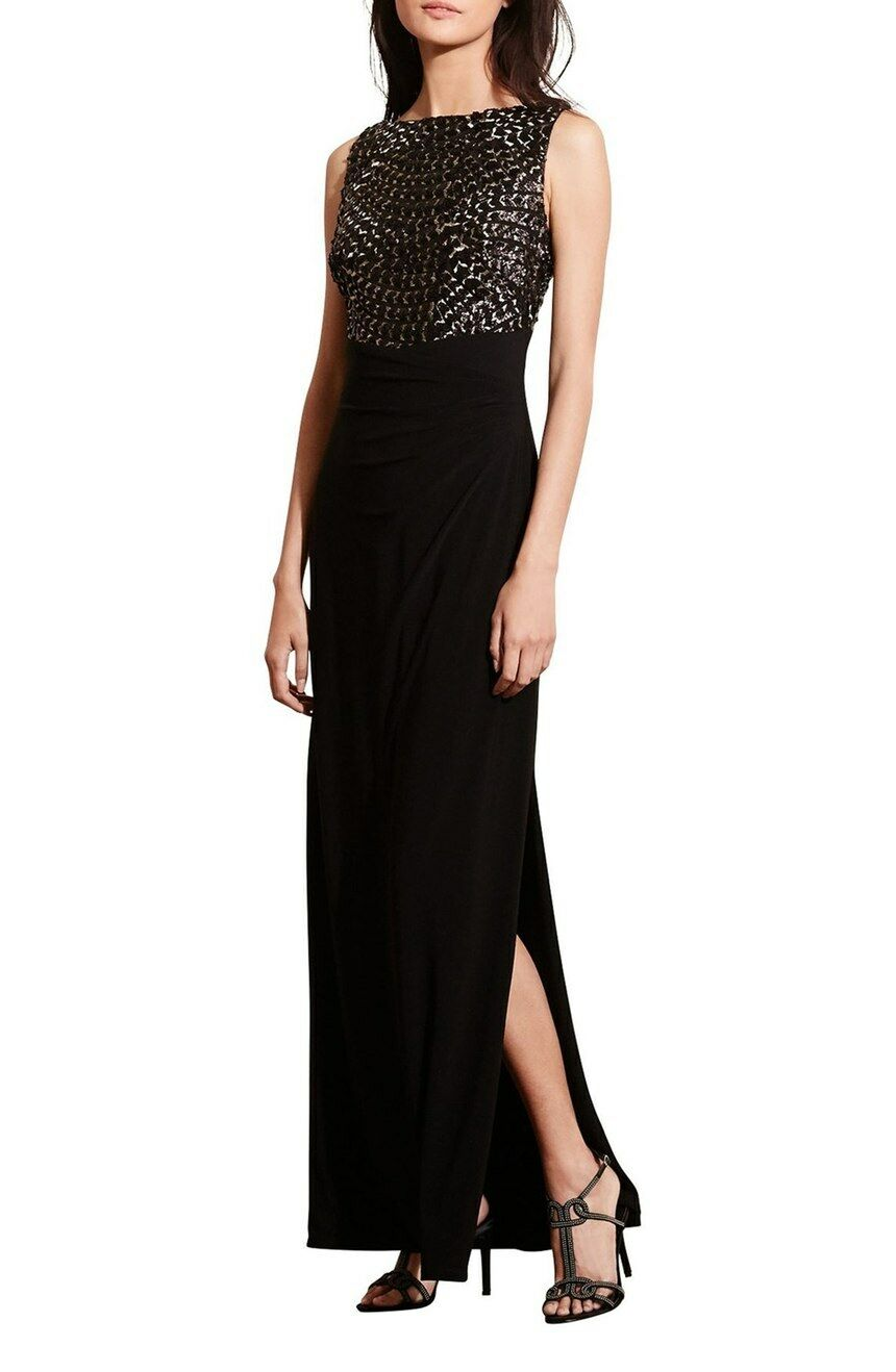 Sequin Embroiderot Jersey Gown by Lauren Ralph Lauren (Größe 14)