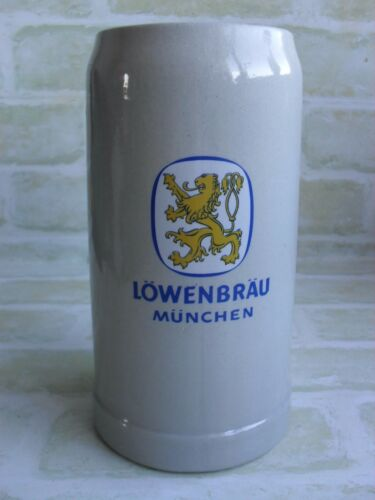 RARE COLLECTABLE CERAMIC 1 LTR LOWENBRAU MUNCHEN STEIN MUG GERMANY