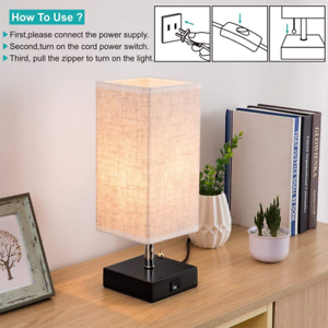 USB Table Lamp Modern Design Bedside Table Lamps with USB Charging Port