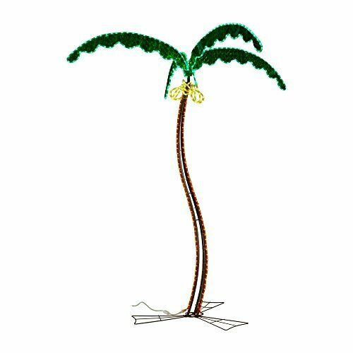 Easy to Install & Fireproof Decorative LED Light Palm Tree w  Coconuts - 7ft