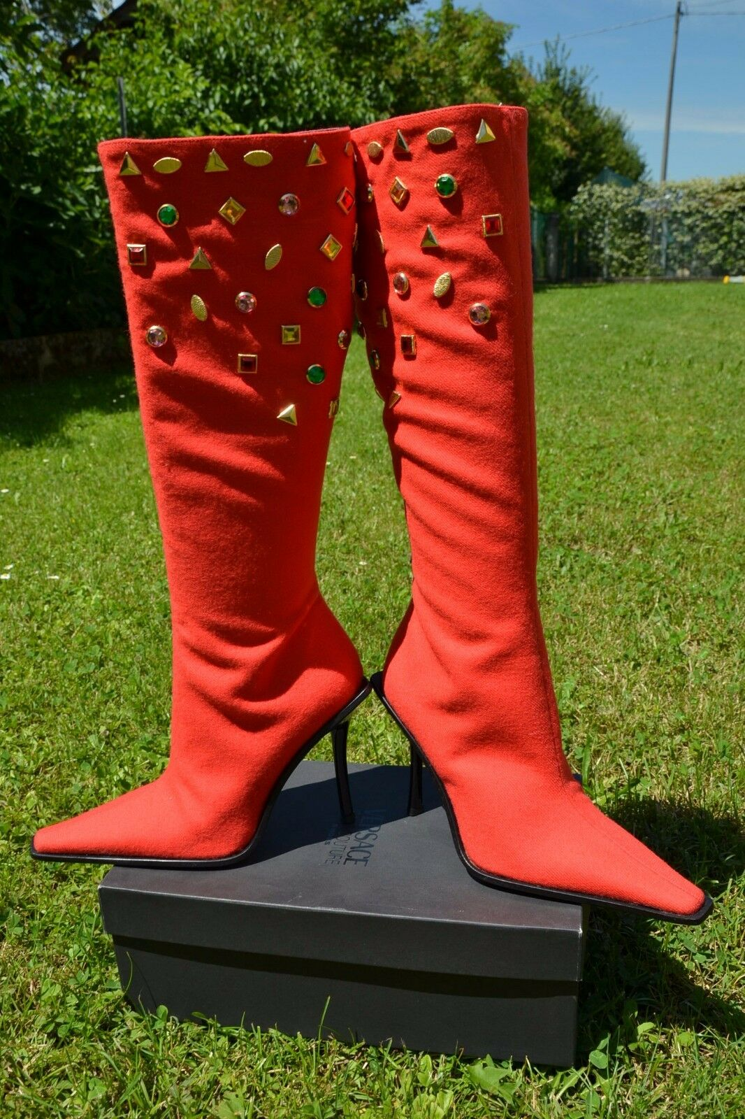 VERSACE VERSACE VERSACE New Vtg Sold out Runway Jewel Lux High Heel Wool Stiefel Schuhes sz 36 UK 3 d2e649