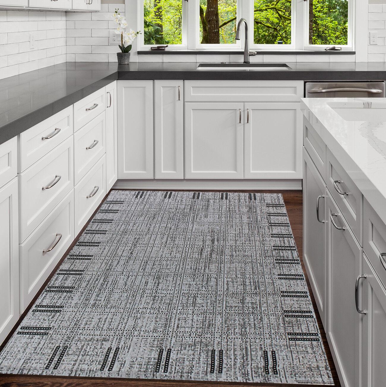 Kitchen MAT Tappeto 160x230 nero e grigio piatto Tessere Tappeto 120x170 resistente
