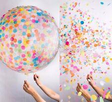 """18"""" clear opaque 8g latex balloon & 100 pcs coloured tissue confetti 45cm inch"""