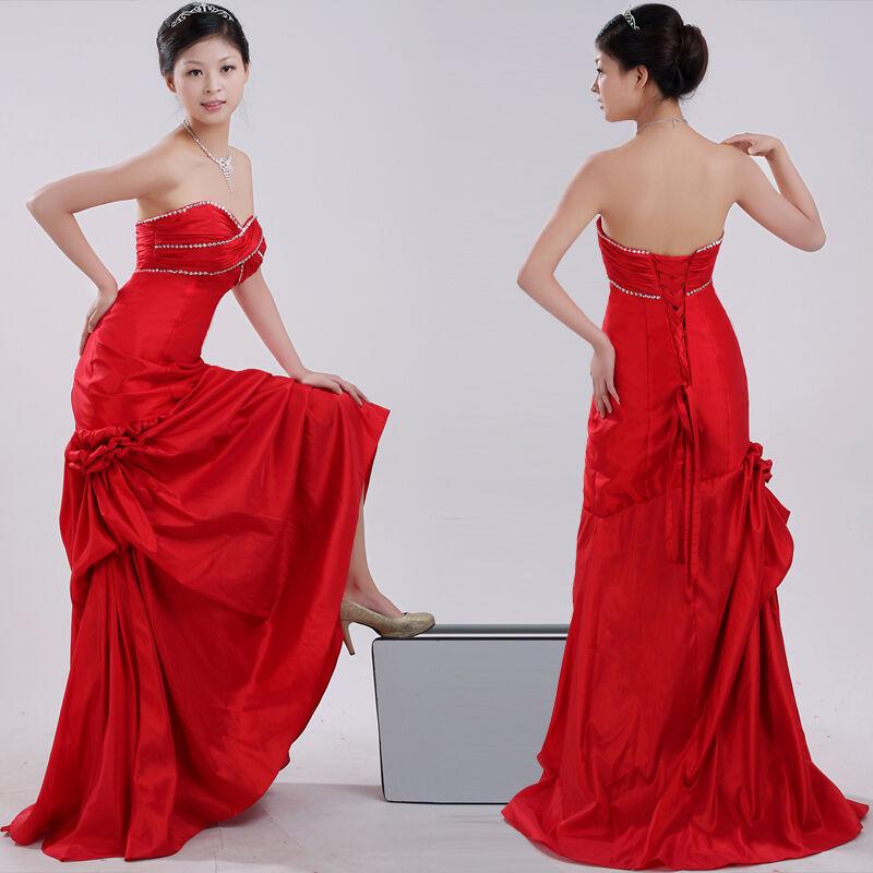 Robe de Soirée Mariée Tenue Demoiselle D'Honneur ImmédiateHommest Li-Ning Rouge