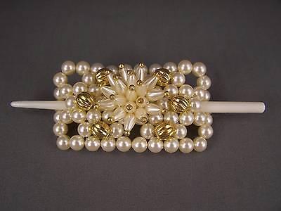 "Cream Gold faux pearl slide hair pin stick barrette hairpin accessory 4"" long B"