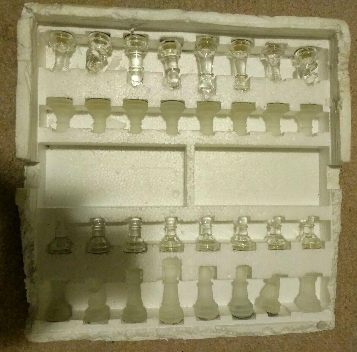 Chess glass board, Luxe Cristal Pièces Set-vintage de haute qualité élégant jeu