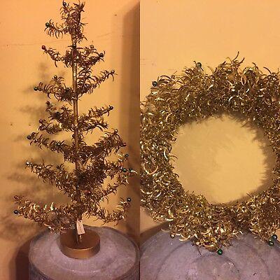 "Bethany Lowe Halloween Tree 12/"" Tall Tinsel Tree Gold Orange Green /& Black NEW"