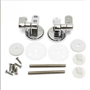 New Alloy Chrome/Silver Universal Replacement Toilet Seat Hinges w/ Fittings Set