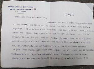 1961-67-GERUSALEMME-LETTERA-DI-PADRE-DONATO-BALDI-SCAVI-ARCHEOLOGICI-A-CESAREA