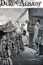 Wedding 1882 MARRIAGE DUKE of ALBANY Bride Arrival Matted Antique Engraving