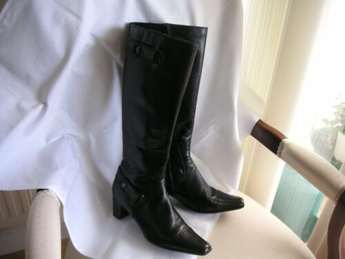 Elegance nuovo Stivali Uk In ginocchio 139 4 nera Eleganti al donna pelle Rrp Taglia Linea w7atq7g