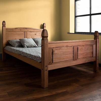 Corona King Size Bed High Foot End 5FT Solid Pine Wood Mexican Bedroom Furniture