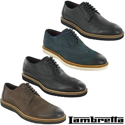 FleißIg Lambretta Mens Smart Leather Evening Work Flat Shoes Brogue Plain Lace Uk 7-12
