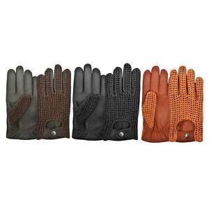 Ladies-Women-Mens-Driving-Gloves-Classic-Retro-Genuine-Leather-Fashion-Chauffeur