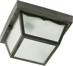 """Nuvo 2 Light 10/"""" Carport Flush Mount With Textured Frosted Glass"""