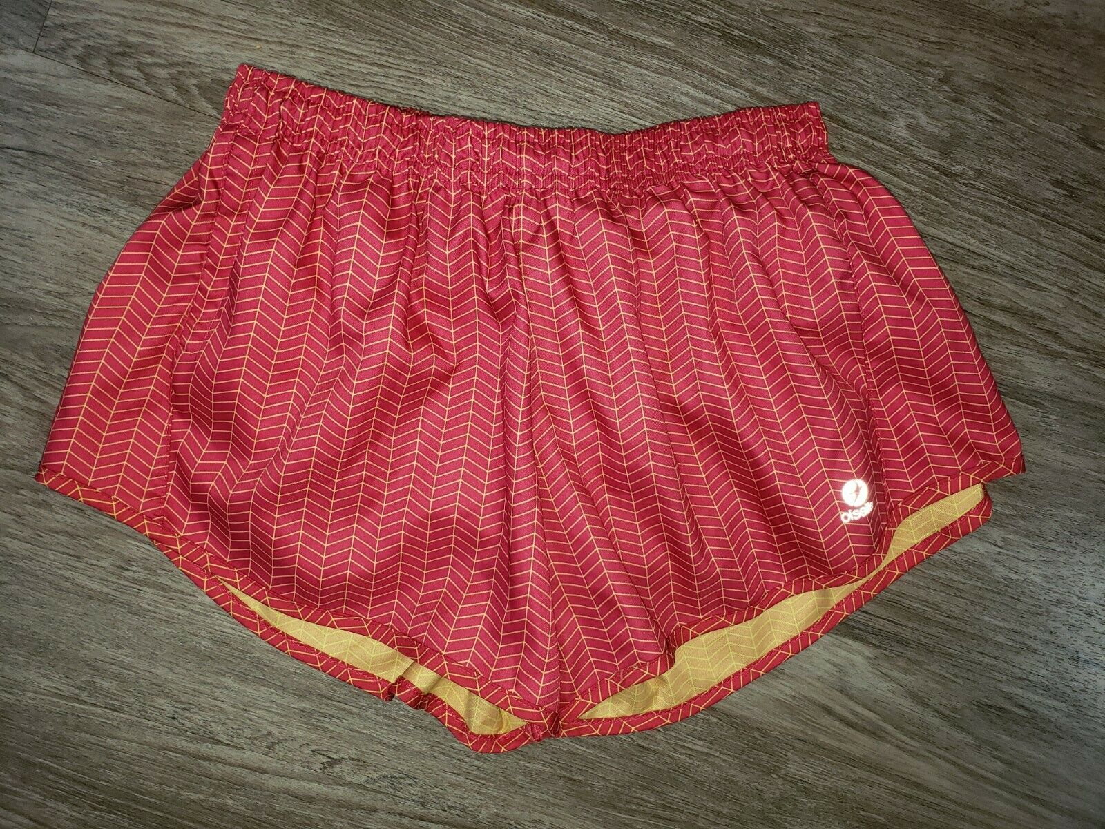 Oiselle Red Yellow Chevron Striped Running Shorts Built In Underwear Athletic MD