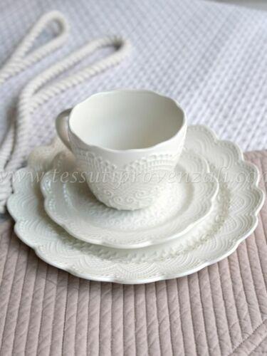 """piatto dolce Blanc Mariclò serie /""""Merletto/"""" colore b piattino Trio tazza the"""