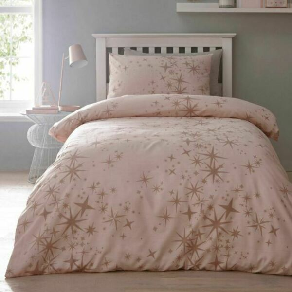 Pink Rose Gold Single Duvet Cover, Pink And Gold Star Bedding