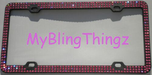3 Rows Rose Pink Crystal Rhinestone on Black License Frame w// Swarovski Elements