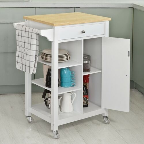 SoBuy® Kitchen Trolley Cart Island,Moving Storage Rack Cabinet,White,FKW46-WN,UK