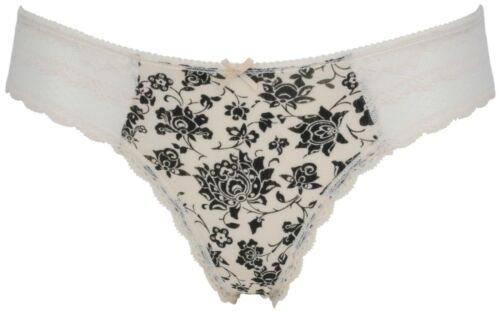 Ex Store Lace Trimmed Brazilian Knickers with Floral Print