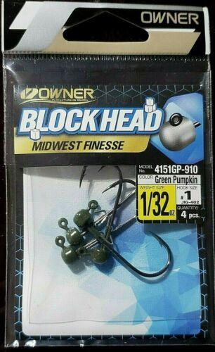NEW Owner Block Head Midwest Finesse Size #1 1//32oz Green Pumpkin Live Bait Hook