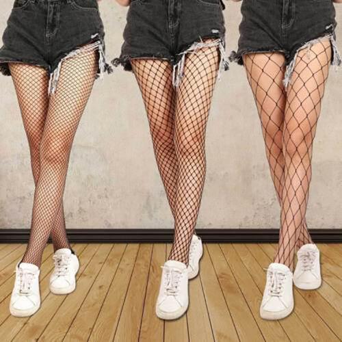 Damen Schwarz Netz Fischnetz Netz Muster Strumpfband Strümpfe Socke Au Proper