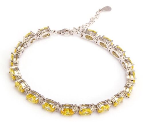 """Rhodium Plated Sterling Silver Simulated Yellow /& White Diamond Bracelet  7-8/"""""""