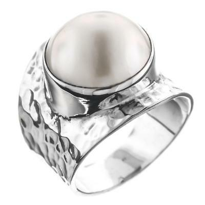 White Mabe Cultured Pearl Bali Handmade Hammered 925 Sterling Silver Ring