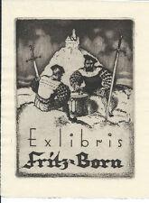 Landsknechte Exlibris von Walter Helfenbein / Born Castle Guards Swords Dice C3