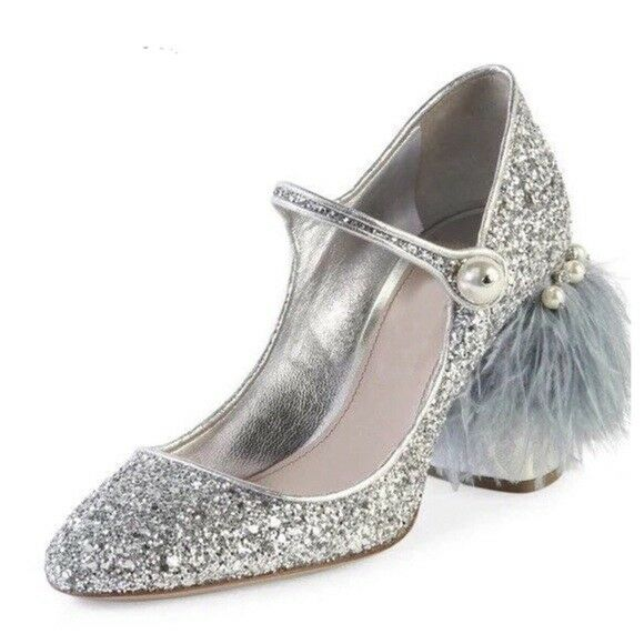 The Amanda Gorgeous Handmade Silber Feather Glitter Crystals Mary Jane schuhe  440