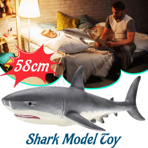 58cm Big Size Megalodon Great White Shark Animal Figure Model Toy