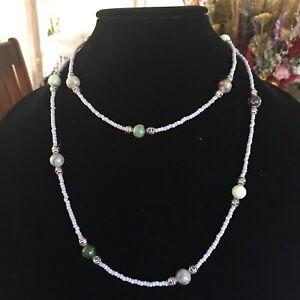 BOHEMIAN AMAZONITE AGATE Necklace HandcraftedColorful Handmade Beaded Necklace =