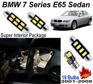 19pcs Super White Led Interior Light Kit Package For Bmw 7 Series E65 2001 2008 Ebay