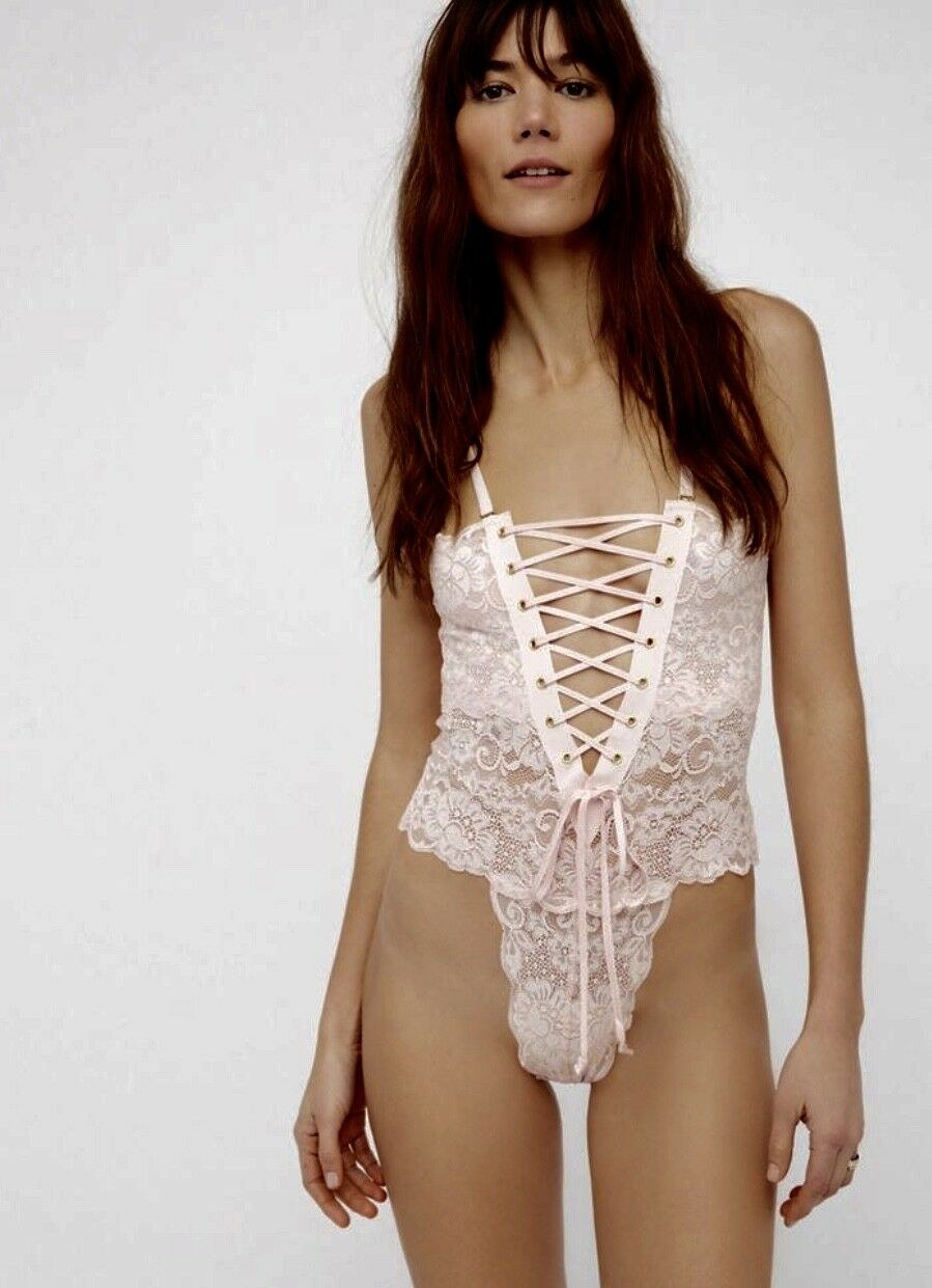 NEW HAH Hot As Hell Rosa LaceUp Lace Reversible Bought at Free People Lingerie S