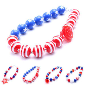 National-Day-USA-Children-Gift-Necklace-Bubblegum-Beads-Chunky-Crystal-Jewelry